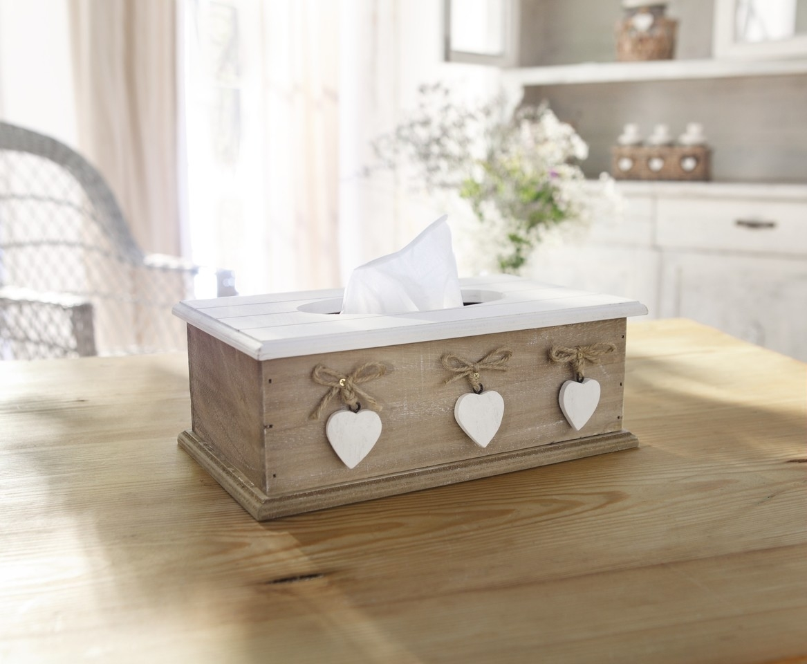 tissue box f r kosmetikt cher white heart landhausstil shabby holzbox ebay. Black Bedroom Furniture Sets. Home Design Ideas